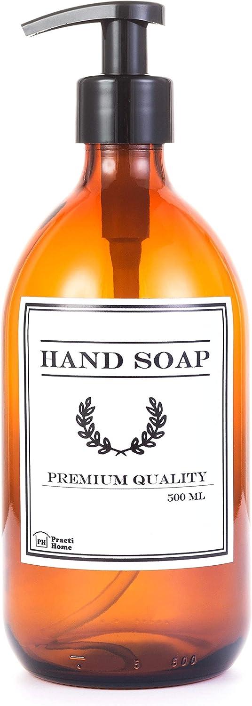 Dispensador de Jabón de Cristal Ambar Botella Vidrio con Dosificador de Jabón 500 ml (Ambar, Hand Soap)