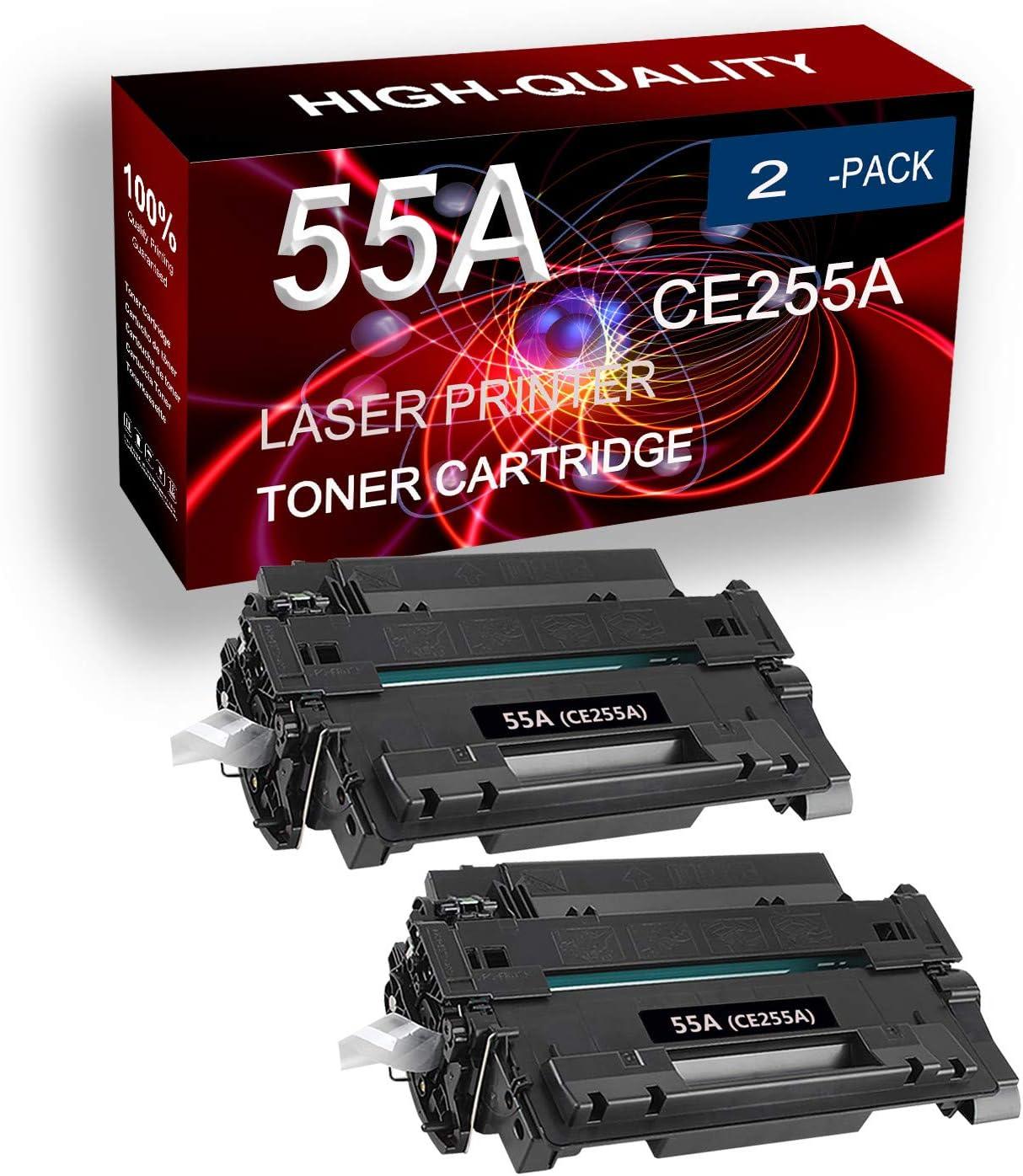 2 Pack (Black) Compatible P3010 P3011 P3015 P3016 500 MFP M521 500 MFP M525 Printer Toner Cartridge (High Capacity) Replacement for HP 55X 55A CE255A Laser Printer Toner Cartridge