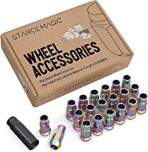 20pcs Extended Tuner Race Lug Nuts - 12x1.5 Thread Size - Open End - Cone Conical Taper Acorn Seat (60 Degree) - 2 inch Length - Neochrome Neochro Neo-Chrome - for Honda Mazda Hyundai Toyota and More