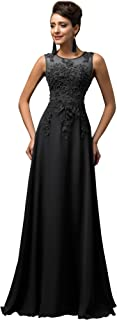Chiffon V Back Evening Dresses Prom Gown with Beads Appliques
