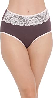 Clovia Women's Cotton High Waist Hipster Panty with Lace Insert