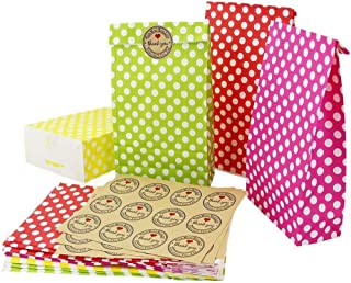 Kbnian Kraft Paper Bags 24Pcs Paper Party Gift Bags with Polka Dot and Sealing Sticker 8.4x4.7x1.9Inch Wedding Favor Bags for Lunch Grocery Candy(Red,Pink,Yellow,Green)