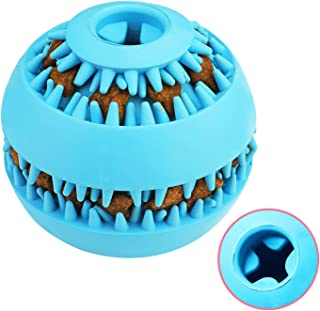 """HAOPINSH Dog Ball Toy, Dog Treat Ball Dispenser Dog Chew Toys with Meat Flavour for Small Medium Large Dogs Pets Teeth Chewing Playing IQ Training Durable &Interactive(3"""",Blue)"""
