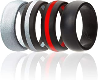 Silicone Wedding Ring for Men, 7 Pack, 4 Pack & Singles, Silicone Rubber Bands - Classic Style Solid & Striped, Metallic Look & Matte Colors