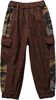 CHAO SHUAI Toddler Boys Camo Patchwork Cargo Pants Cotton Multi-Pockets Pull-On Joggers Pants (2-7 Years)