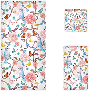 Naanle Chic Romantic Fancy Floral Birds Butterfly Soft Luxury Decorative Set of 3 Towels, 1 Bath Towel+1 Hand Towel+1 Wash...