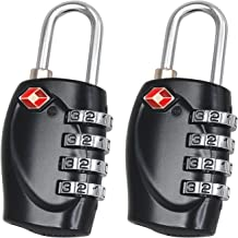 4-Dial TSA Combination Padlock x 2 - Black - for Luggage Suitcases and Travel -By TRIXES