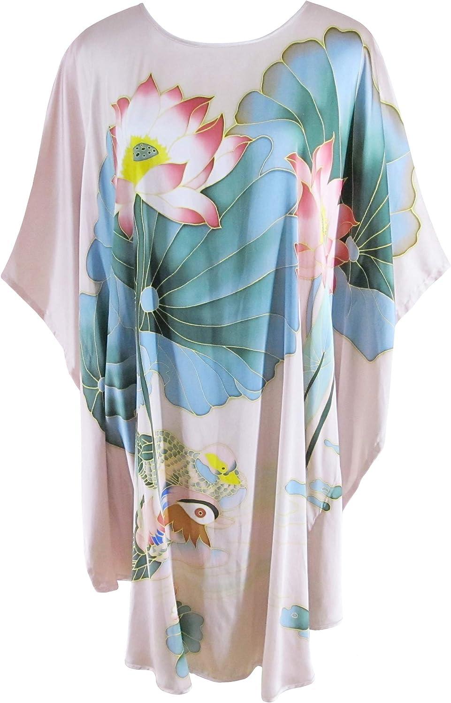 Ledamon Women's 100% Silk Short Robe Nightgowns Batwing Sleeved Nightwear Sleepwear Pajama Classic Handpainted
