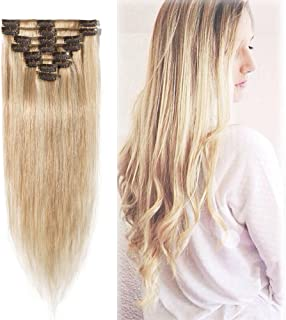 Highlighted Clip in Hair Extensions Ash Blonde Mixed Bleach Blonde 14-24 inch Remy Human Hair for Women 8pcs 18 Clips Full Head Soft Straight Hair(24
