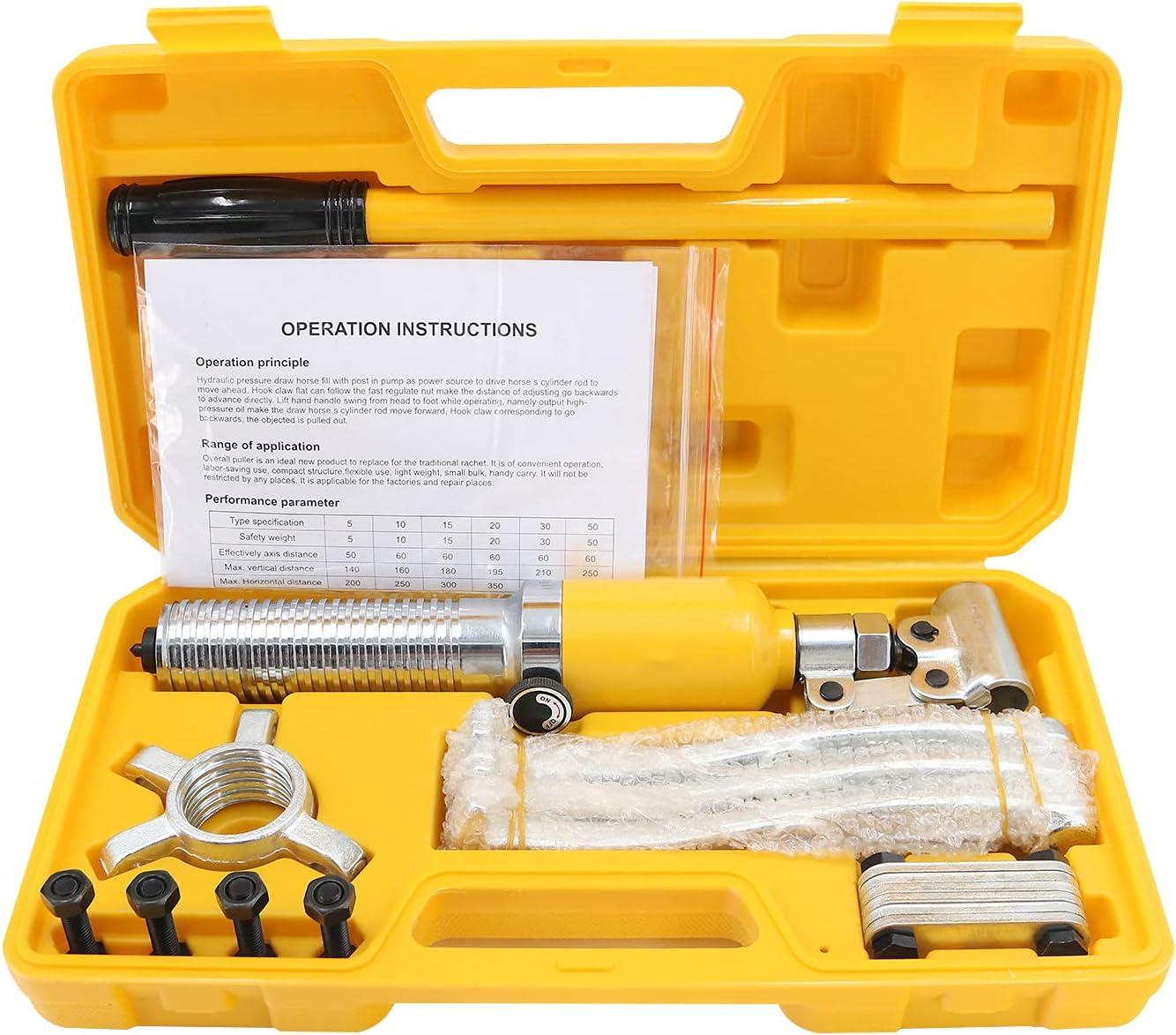 bysonice 5T Gato HidráUlico Stick Jack Ram Jack Extractor HidráUlico Fijo Extractor de Cojinetes Kit de Herramientas de Cilindro de ExtraccióN de Cojinetes de Tres Brazos Duradero