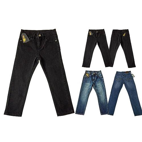 4856909968df0 justfound4u Designer Boys Jeans Elasticated Adjustable Waist Trousers  Charcoal Black Faded Blue Denim Wash Children Kids