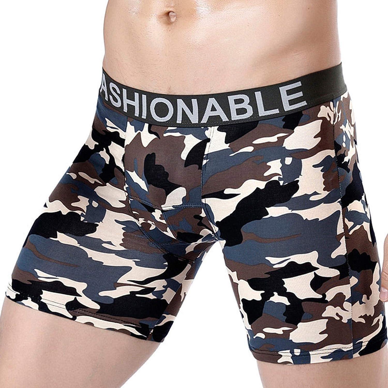 Men's Camouflage Printed Long Leg Boxer Briefs Comfortable Breathable Athletic Underwear