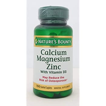 Nature's Bounty Calcium Magnesium Zinc with Vitamin D3 -Set of 100 Coated Caplets