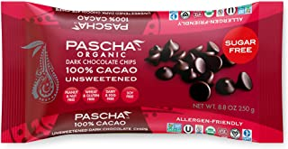 Pascha Organic Unsweetened Dark Chocolate Baking Chips 100% Cacao, 8.8 Ounce (Pack of 6)
