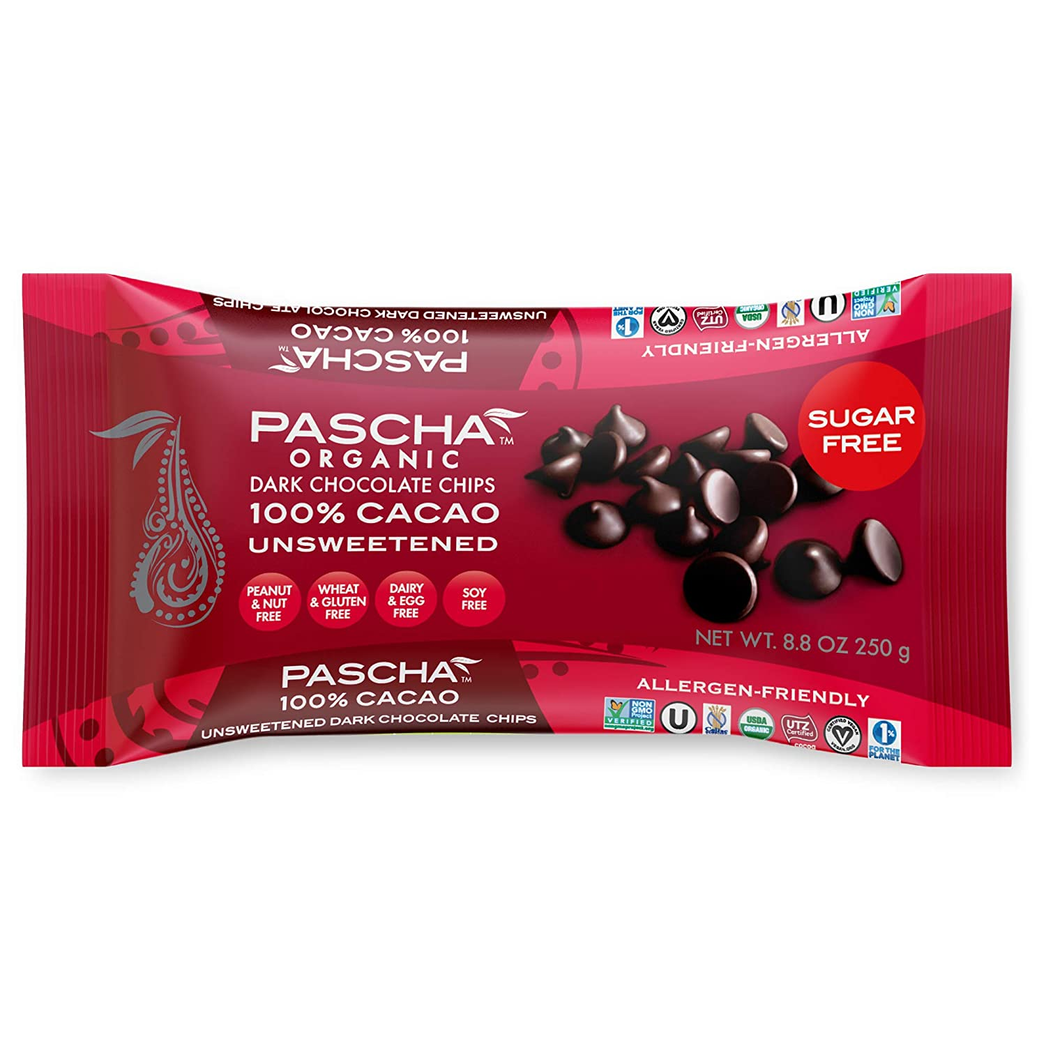 SEAL Memphis Mall limited product Pascha Organic Unsweetened Dark Chocolate Caca 100% Baking Chips