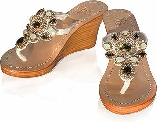 Gorgeous Jeweled Genuine Leather Shoes Pasha, Style Sicily White/Black