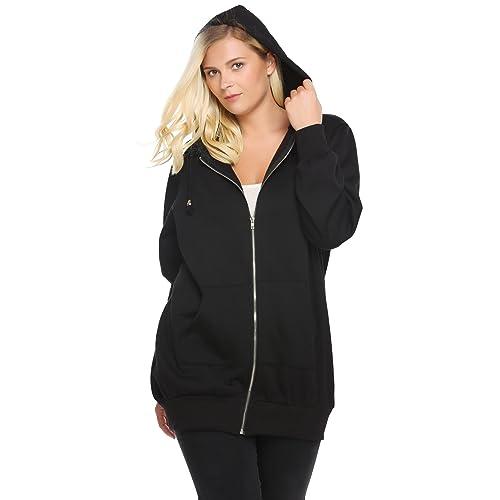2d5c663c42aac Zeagoo Womens Plus Size Casual Zip up Fleece Hoodies Tunic Sweatshirt Long  Hoodie Jacket