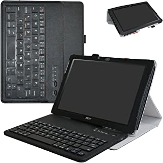 Acer Iconia One 10 B3-A40 Wireless Keyboard Case,Mama Mouth Slim Stand PU Leather Cover with Romovable Wireless Keyboard for 10.1