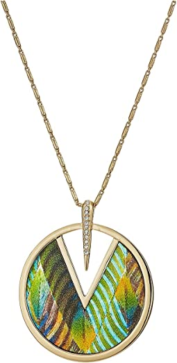 "30"" Inlaid Leather Pendant Necklace"