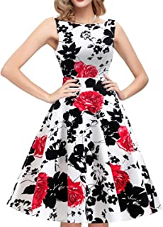 f50f249fb IHOT Vintage Tea Dress 1950's Floral Spring Garden Retro Swing Prom Party  Cocktail Dress for Women