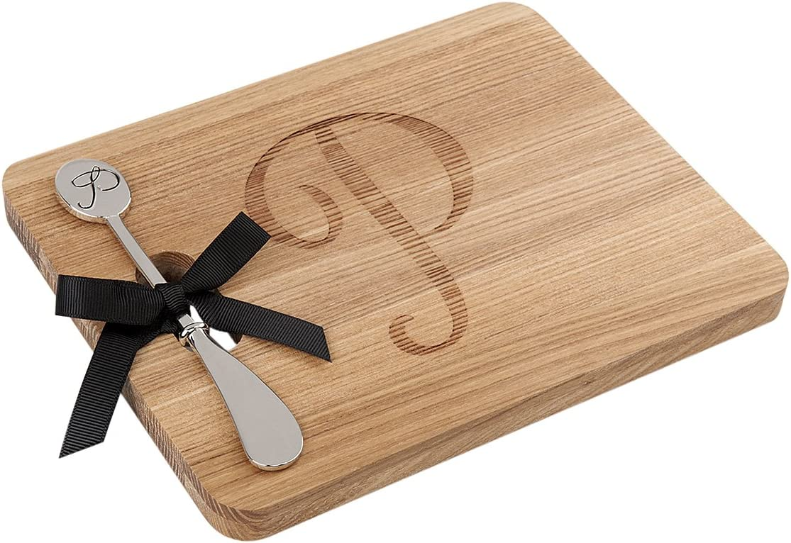 Monogram Wood Cheese Board with Max 57% OFF Spreader - P Limited time cheap sale Initial