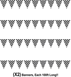 Checkered Flags Black and White 100' FT Pennant Racing Banner | NASCAR Theme Party Decoration Plastic Flag | Race Car Parties Décor | Decorative Birthday BBQ Bar Hanging Accessories | 2-Pcs Banner Set