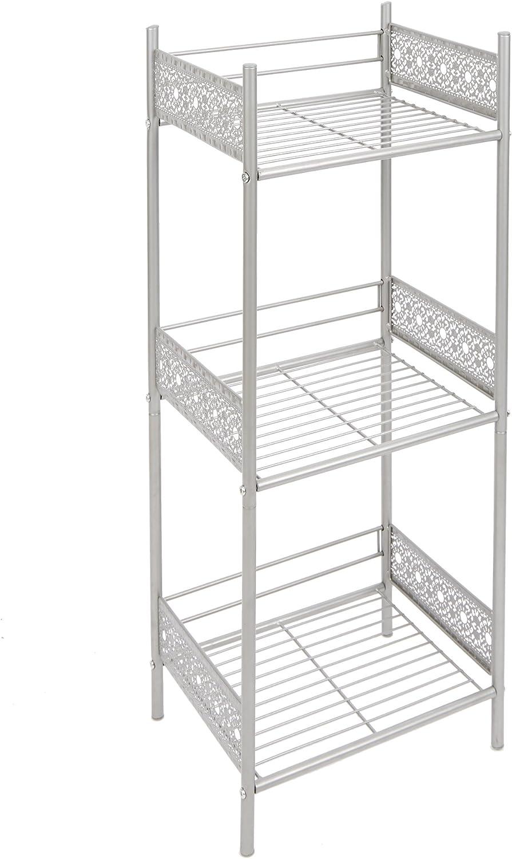 Silverwood Filigree Bathroom Collection Floor Shelf, 36  H, Nickel