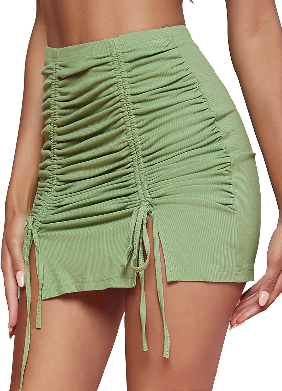 Milumia Women's Drawstring Front Ruched Slit Hem Elastic Waist Bodycon Mini Skirt