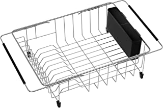 iPEGTOP Expandable Deep & Large Dish Drying Rack, Over the Sink, In Sink Or On Counter Dish Drainer with Black Removable Utensil Silverware Holder, Rustproof Stainless Steel