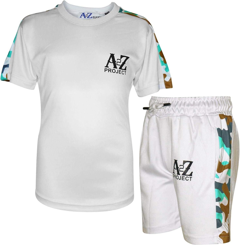 A2Z Kids Boys T Shirt Shorts Project Camo Panelled White Top Summer Short Sets