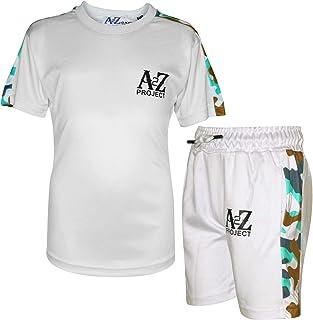 Kids Boys T Shirt Shorts A2Z Project Camo Panelled White Top Summer Short Sets