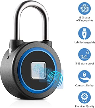 Fingerprint Padlock Thumbprint Bluetooth Lock USB Rechargeable IP65 Waterproof Ideal for Locker, Handbags, Golf Bags, Wardrob