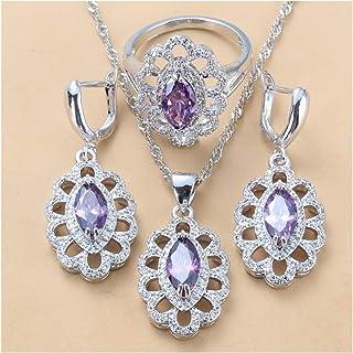 طقم مجوهرات زركون مكعب للنساء هدية مجوهرات للنساء يانجين (اللون: بنفسجي، 3 قطع، الحجم: 6)