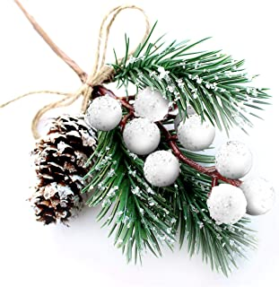 White Christmas Berries/Berry Stems Pine Branches & Artificial Pine Cones/White Holly Spray/Wreath Picks for Winter Décor,...