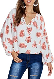 Womens Loose 3/4 Sleeve Shirt Top Casual Printed V Neck Blouses