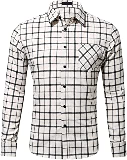 f05b8f3a Check out this DOKKIA Men's Dress Buffalo Plaid Checkered Fitted Long  Sleeve Flannel Shirts from Amazon