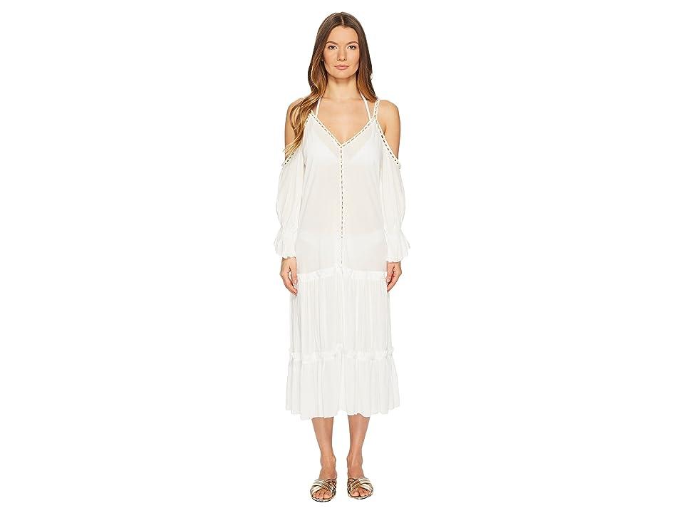 Jonathan Simkhai Crepe Studded V-Neck Dress Cover-Up (Ivory) Women