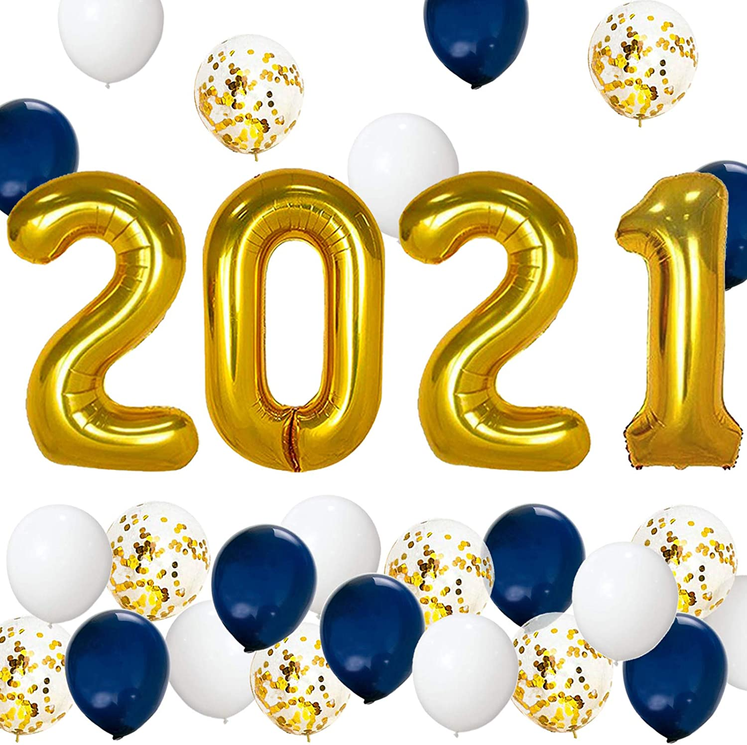 Graduation Party Supplies 2021 Decorations Kit, Gold 2021 Balloons, Navy Blue Gold and White Balloons Set, Navy Blue and Gold Graduation Decorations 2021