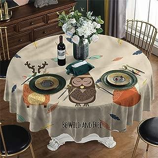 USTRJ Printed Round Tablecloth Christmas Woodland Boho Tribal Owl and Deer Table Cloth Diameter 39