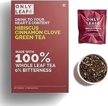 Onlyleaf Hibiscus Cinnamon Clove Green Tea, 52 Tea Bags (50 Tea Bags + 2 Free Exotic Samples)