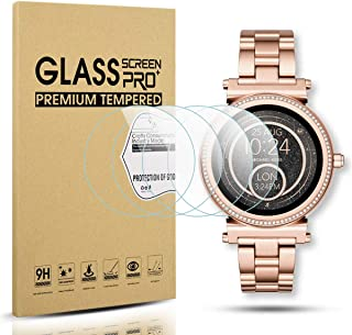 Diruite 4-Pack for Michael Kors Access Sofie Tempered Glass Screen Protector for MK Sofie Smart Watch [Anti-Scratch] [Perf...