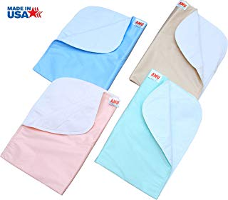 4 Pack Washable Bed Pads/Reusable Incontinence Underpads 18x24 - Blue, Green, Tan and Pink - Ideal for Children and Adults Wholesale Incontinence Protection/Cloth Chucks Bed Pads Washable