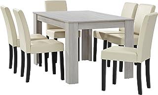 [en.casa] Table à Manger chêne Blanc avec 6 chaises crème Cuir-synthétique rembourré140x90