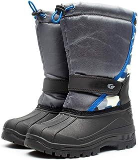 LONGWEI Bottes de Neige Garçon Fille Hiver Chaud Chaussures de Plein Air Antidérapante Bottes Mi-Mollet 2-10 Ans