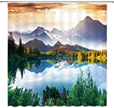BCNEW Scenic Decor Collection, Mountain Lake View Sunny Day Nature Picture Art Paintings Effect Print, Polyester Fabric Bathroom Shower Curtain Set with Hooks, Green/Blue/Brown