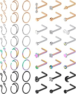 48Pcs 20g Nose Rings Hoops L Shape Nose Studs Stainless Steel Nose Piercing Jewelry Diamond Opal Black Rose Gold Nose Ring...