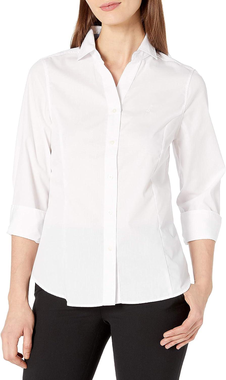 Nautica Women's Casual Comfort 3/4 Sleeve Button Down Solid Shirt