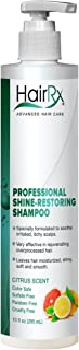 HairRx Professional Shine-Restoring Shampoo with Pump, Luxurious Lather, Citrus Scent, 10 Ounce