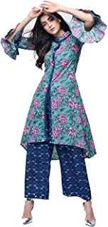 Zoeyams Womens Multicolored Cotton Printed Long A-Line Kurta With Cotton Palazzo