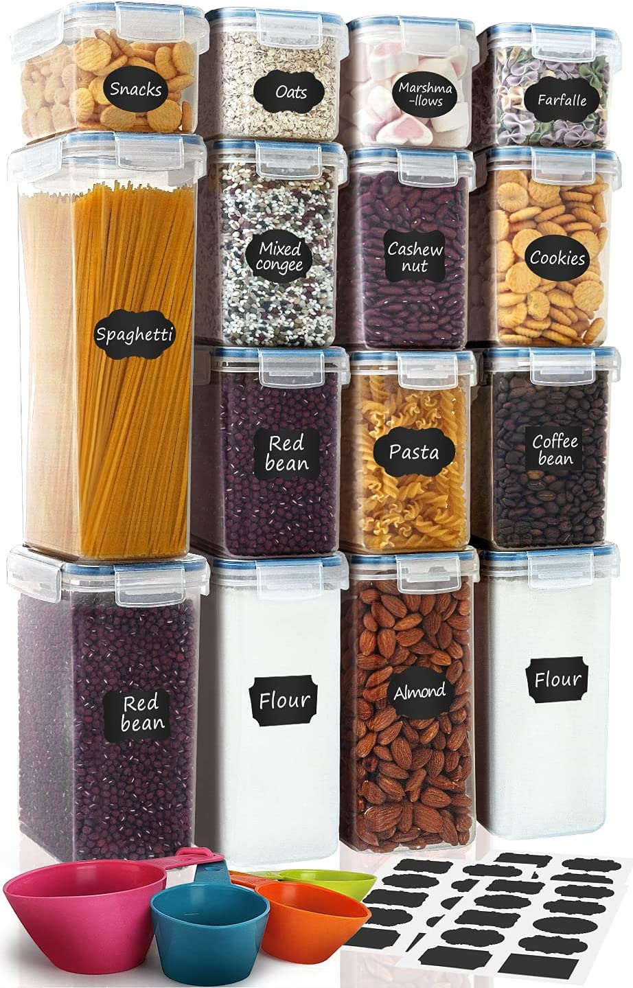Airtight 評判 Food Storage Containers Set 15-Piece Pantry Kitchen ストアー